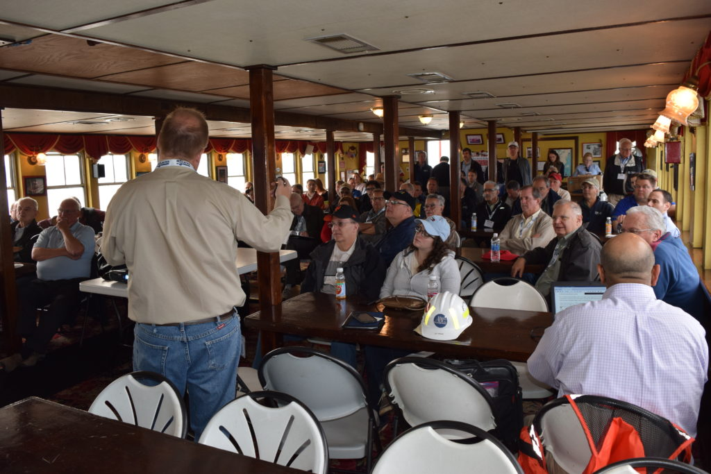 Jay Wagner, PE, NYSTA Presenting Technical Facts and Challenges about the New NY Bridge on the NYSSPE 2 PDH Boat Tour