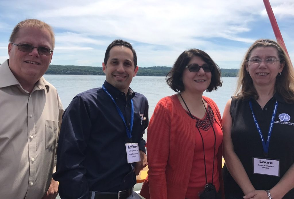From Left to Right: Jay Wagner, PE, NYSTA Approach Span Manager for New NY Bridge, Anthony Fasano, PE, NYSSPE Exec. Director, Jamey Barbas, PE, NYSTA Project Director for New NY Bridge, Laura Pellizzi, PE, NYSSPE President