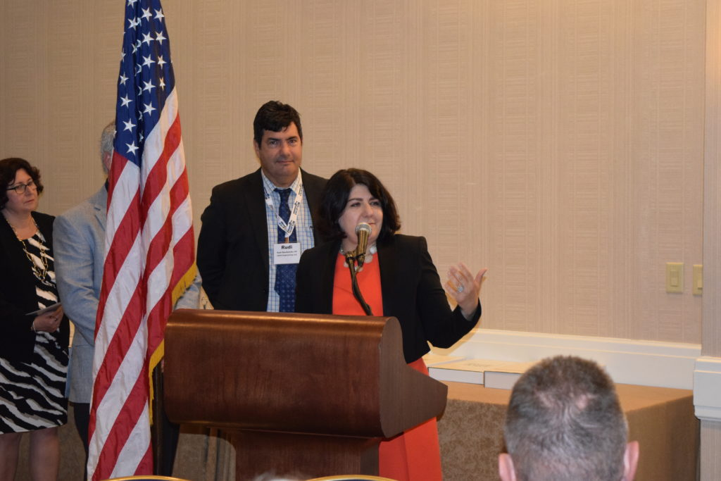 Jamey Barbas, PE, Project Director for the New NY Bridge project accepting the award from NYSSPE
